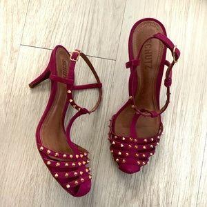 SCHUTZ Heels Sz 8 Magenta Pink Studded T Strap